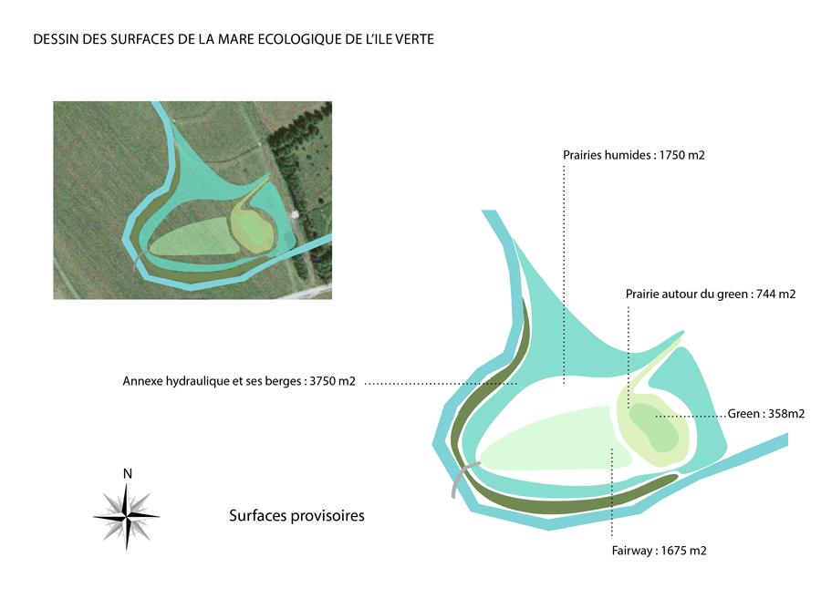 Plan des surfaces relatives à l'aménagement de la mare et du trou 5