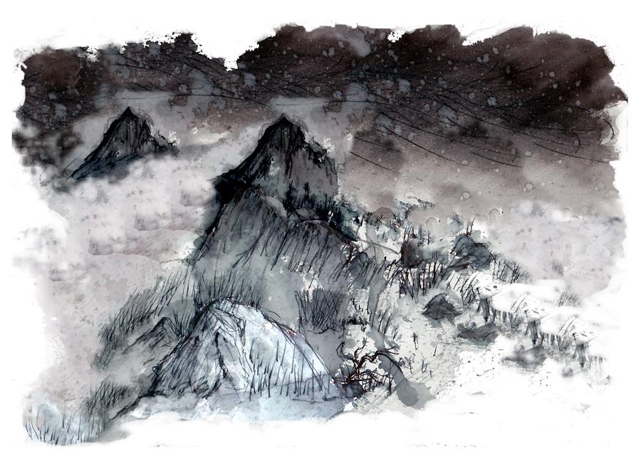 Un haut lieu mythique de Bretagne : Le Roc Trédudon - peinture de Laëtitia BILLANT - 2012
