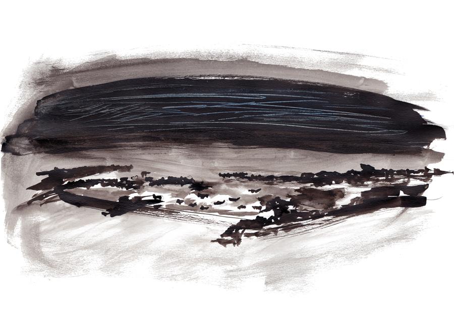 Poulennou, rempli de pierres et de bateaux qui se confondent la nuit -  peinture de Laëtitia BILLANT - 2012