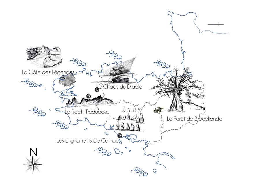 Carte des principaux lieux mythiques et légendaires de Bretagne - dessins de Laëtitia BILLANT - 2012