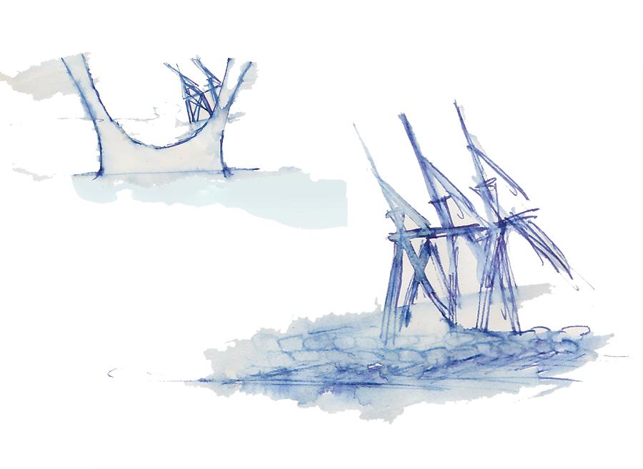 Cadrage des Ponts et Danse des Grues, esquisse paysagère de Laëtitia BILLANT, Septembre 2011