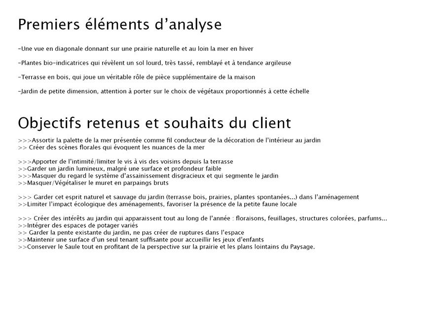 Eléments d'analyse et souhaits du client