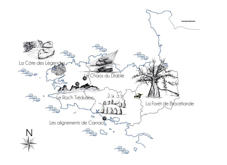 Carte des principaux lieux mythiques et légendaires de Bretagne