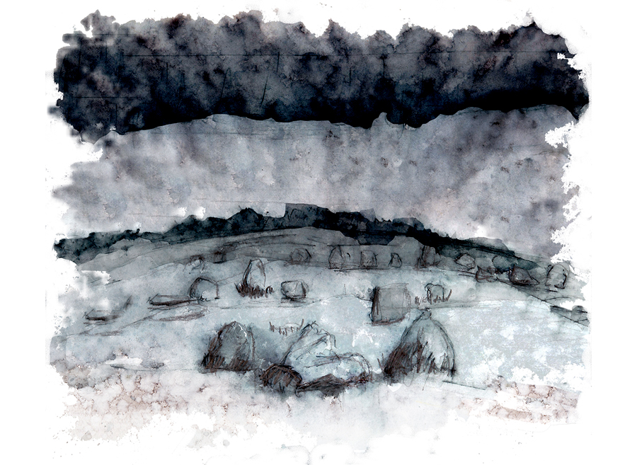 Un haut lieu mythique de Bretagne : Les Alignements de Carnac - peinture de Laëtitia BILLANT - 2012