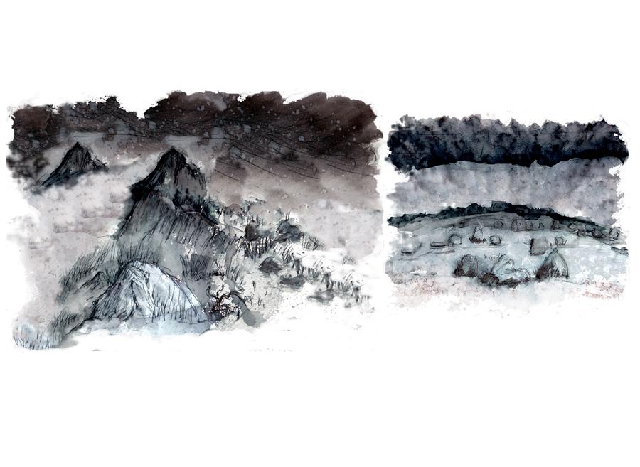 Deux hauts lieux mythiques de Bretagne : Le Roc Trédudon et les Alignements de Carnac - peintures de Laëtitia BILLANT - 2012