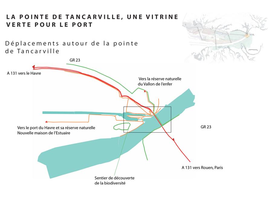 Mise en valeur d'une porte d'entrée dans le Port du Havre, la Pointe de Tancarville, ses logiques de déplacements