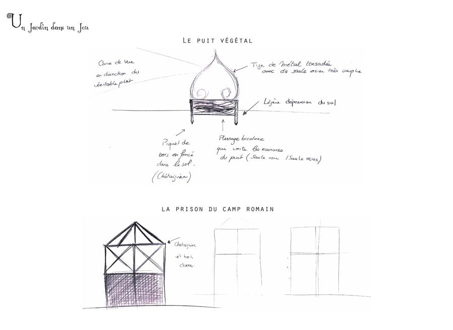Un jardin dans un jeu, détails techniques du Puit Végétal et de la Prison du Camp Romain