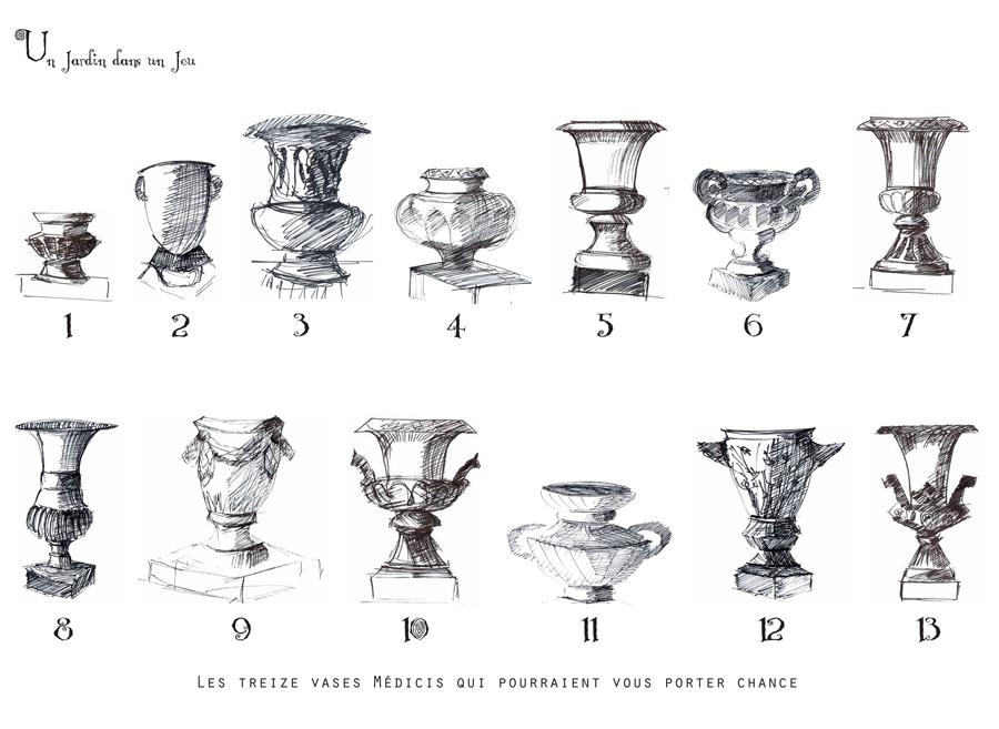 Un jardin dans un jeu, les 13 cases Vases Médicis